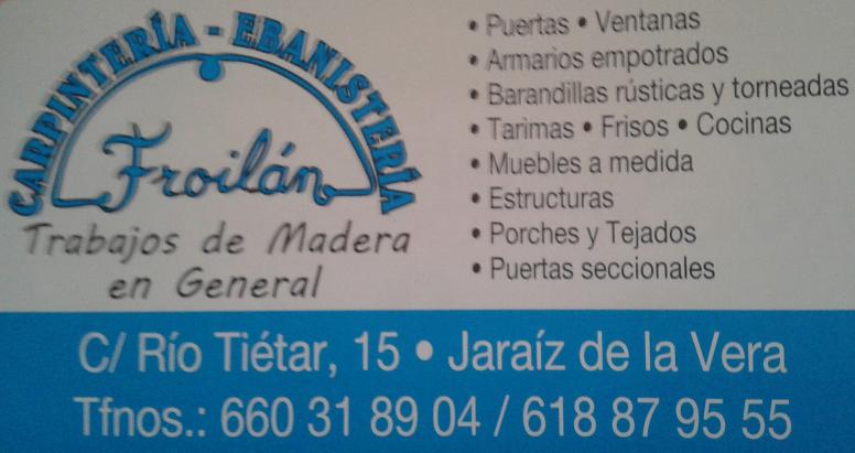 Carpintería Ebanistería - Trabajos de Madera en General - Froilán